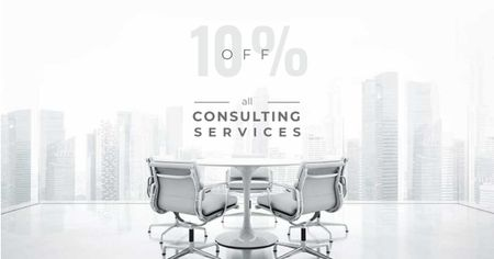 Consulting Services Offer with White Office Space Facebook AD Modelo de Design