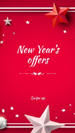 New Year's Offers with Festive Stars Instagram Story – шаблон для дизайна