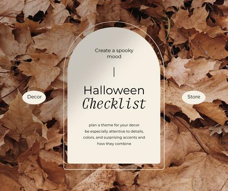 Plantilla de diseño de Halloween Preparation Announcement with Autumn Foliage Facebook