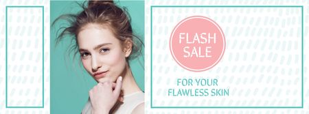 Szablon projektu Skincare Products Offer with Attractive Girl Facebook cover