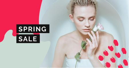 Plantilla de diseño de Spring Sale with Tender Woman holding Rose Facebook AD