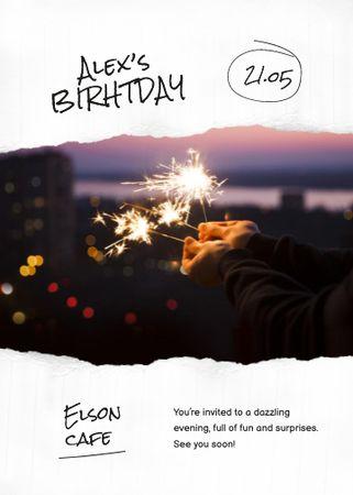 Birthday Party Announcement with Bright Sparkles Invitation – шаблон для дизайну