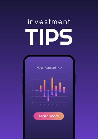Investment Tips on Phone screen Poster Design Template
