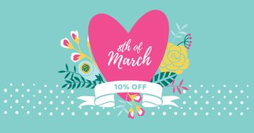 March 8 Discount Offer with Pink Heart