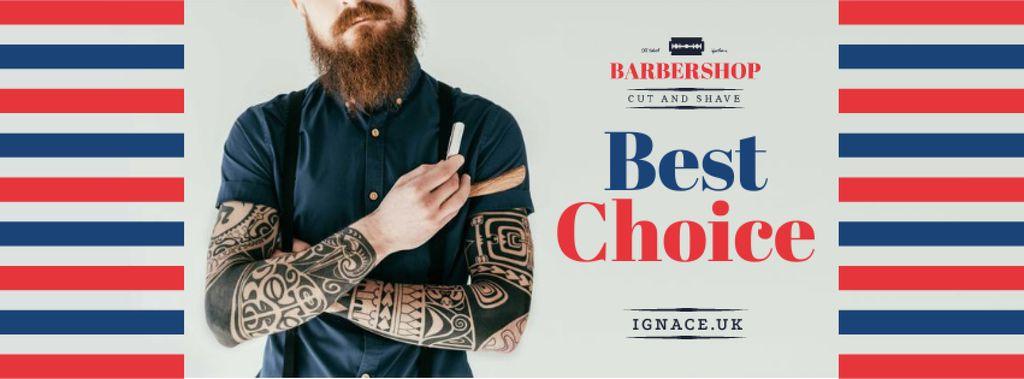 Professional barber holding razor Facebook cover – шаблон для дизайну