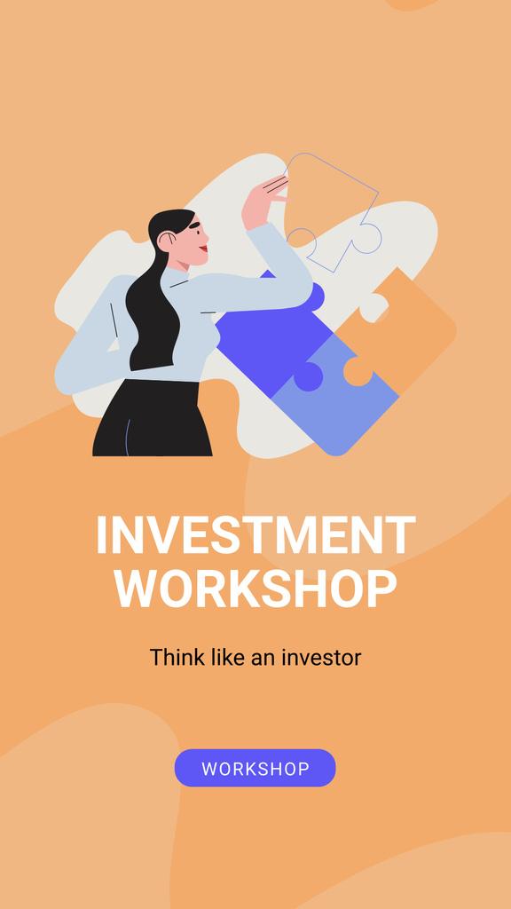 Investment Workshop ad with Businesswoman Instagram Story Modelo de Design