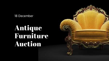 Antique Furniture Auction Luxury Yellow Armchair FB event cover – шаблон для дизайну