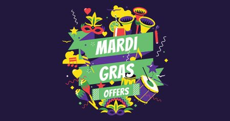 Mardi Gras Offer with Festive Attributes Facebook AD Modelo de Design