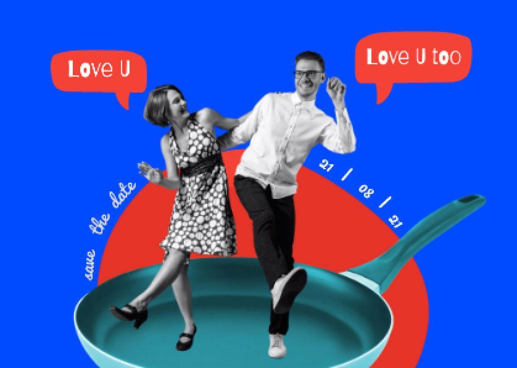Funny Loving Couple Dancing on Skillet Card – шаблон для дизайна