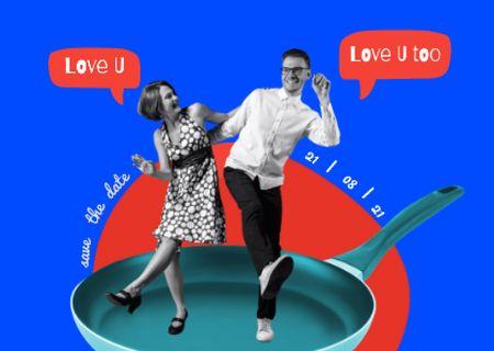 Plantilla de diseño de Funny Loving Couple Dancing on Skillet Card