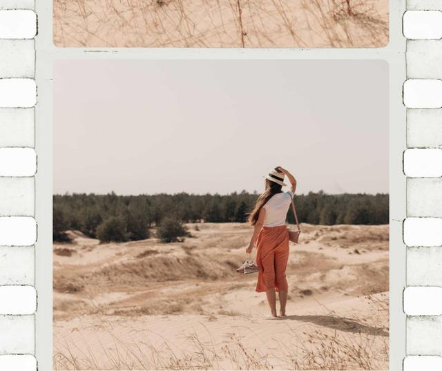 Plantilla de diseño de Stylish Woman in Sand Dune Facebook