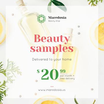 Natural Cosmetic Products Ad with Glass Bottles