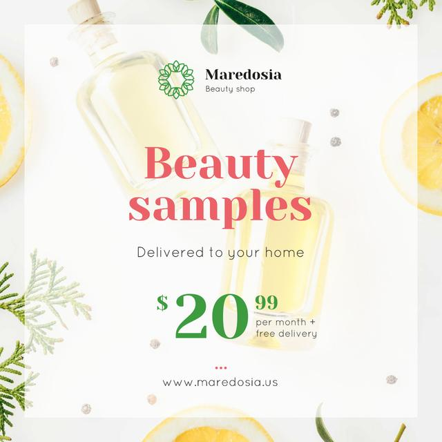 Natural Cosmetic Products Ad with Glass Bottles Instagram Design Template