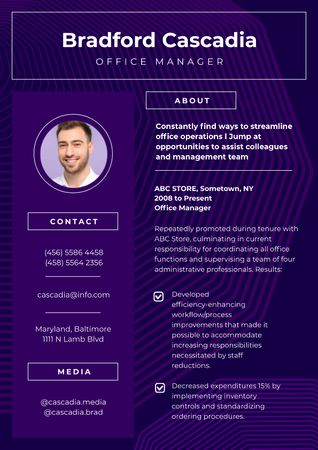 Professional Office Manager profile Resume Tasarım Şablonu