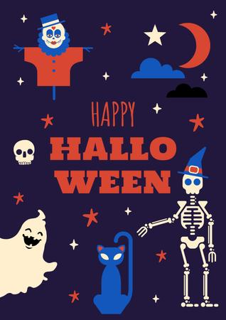 Halloween Holiday Greeting with Funny Characters Poster – шаблон для дизайну