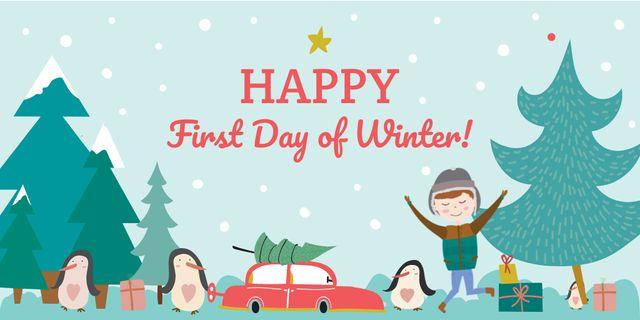 Happy first day of Winter Twitter Modelo de Design