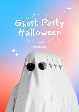 Halloween Party Announcement with Funny Ghost Poster – шаблон для дизайну