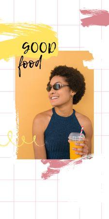 Designvorlage Smiling Woman with Orange Juice für Graphic