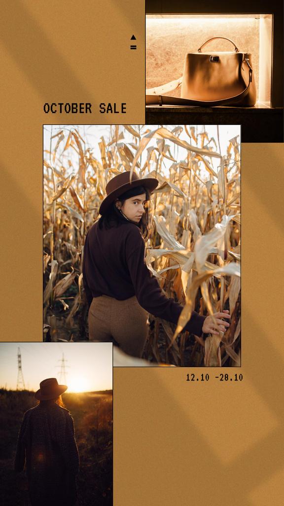 Ontwerpsjabloon van Instagram Story van Stylish Girl in Autumn Corn Field