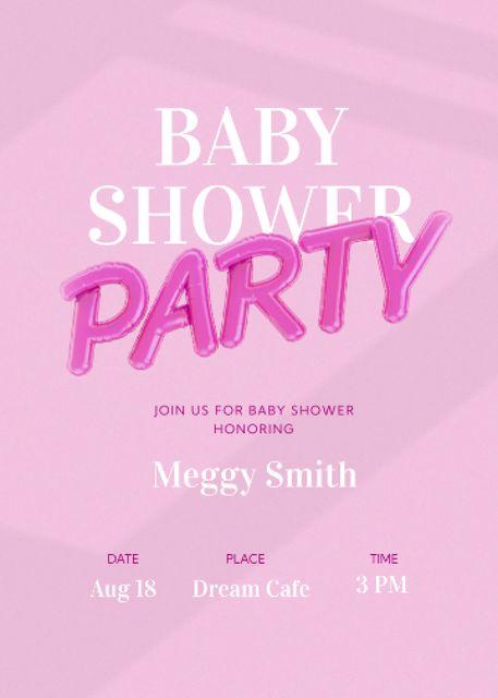 Baby Shower Party Announcement Invitation Modelo de Design