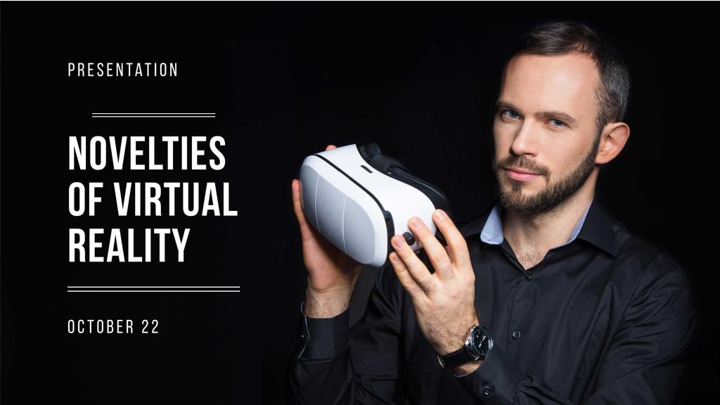 VR equipment Presentation with Man holding glasses FB event cover – шаблон для дизайна