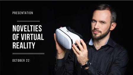 Plantilla de diseño de VR equipment Presentation with Man holding glasses FB event cover