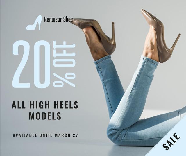 Plantilla de diseño de Fashion Sale Woman in Heeled Shoes Facebook