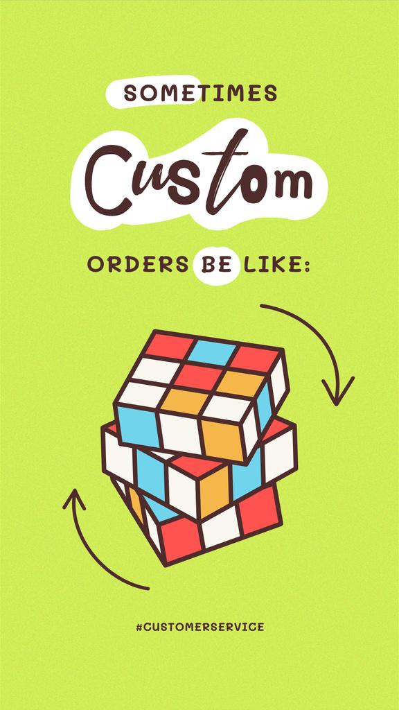 Ontwerpsjabloon van Instagram Story van Funny Joke with Rubik's Cube Illustration