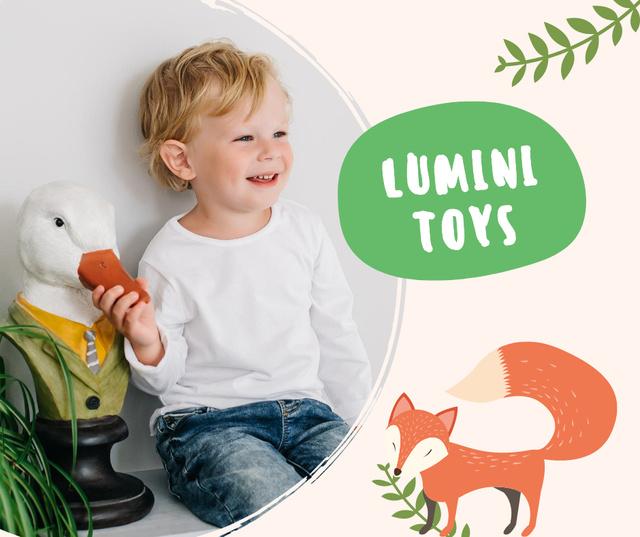 Ontwerpsjabloon van Facebook van Cute Little Kid with Funny Toy Goose