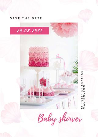 Template di design Baby Shower Announcement with Pink Cake and Flowers Invitation