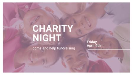 Charity Night Announcement with Smiling Kids FB event cover Design Template