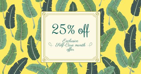 Selfcare Month Offer with Feathers Pattern Facebook AD Design Template