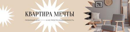 Real Estate agency ad with Dream Apartments VK Community Cover Modelo de Design