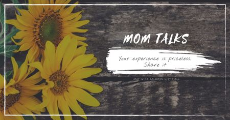 Modèle de visuel Mom talks with Sunflowers - Facebook AD