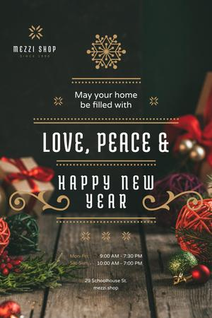 New Year Greeting with Decorations and Presents Pinterest Modelo de Design