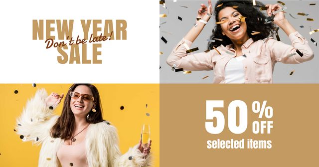 New Year Sale Announcement with Happy Women Facebook AD Design Template
