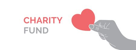 Charity Fund Ad with Heart in Hand Facebook cover Πρότυπο σχεδίασης