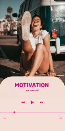 Modèle de visuel Motivational Phrase with Happy Young Woman - Graphic