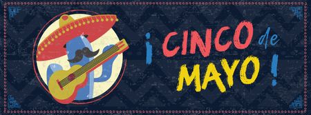 Modèle de visuel Cinco de Mayo holiday with mexican musician - Facebook cover