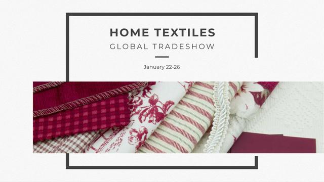 Home Textiles Event Announcement in Red FB event cover Modelo de Design