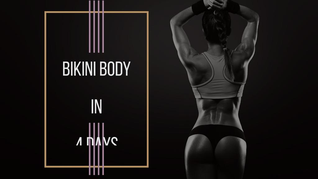 Gym Ticket Offer Woman with Fit Strong Body — Maak een ontwerp