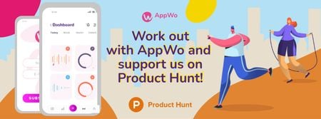 Template di design Product Hunt Promotion Fitness App Interface on Gadgets Facebook cover