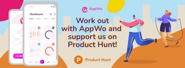 Plantilla de diseño de Product Hunt Promotion Fitness App Interface on Gadgets Facebook cover