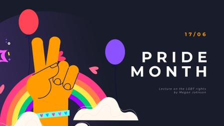 Designvorlage Pride Month Hand Gesturing over Rainbow für Full HD video