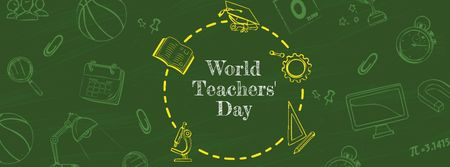 World Teachers' Day Announcement Facebook coverデザインテンプレート