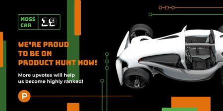 Product Hunt Launch Ad with Sports Car Twitterデザインテンプレート