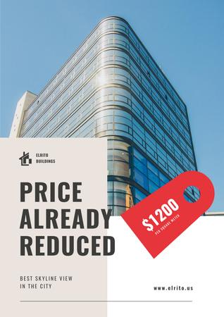 Ontwerpsjabloon van Poster van Real Estate Offer with Modern Glass Building