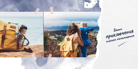 Girl hiking with backpack Twitter – шаблон для дизайна