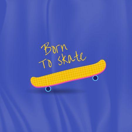 Cute Illustration of Yellow Skateboard Logo – шаблон для дизайну
