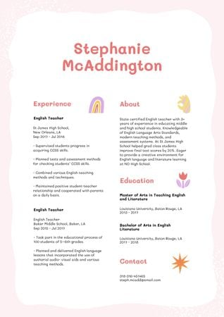 Modèle de visuel English Teacher skills and experience - Resume
